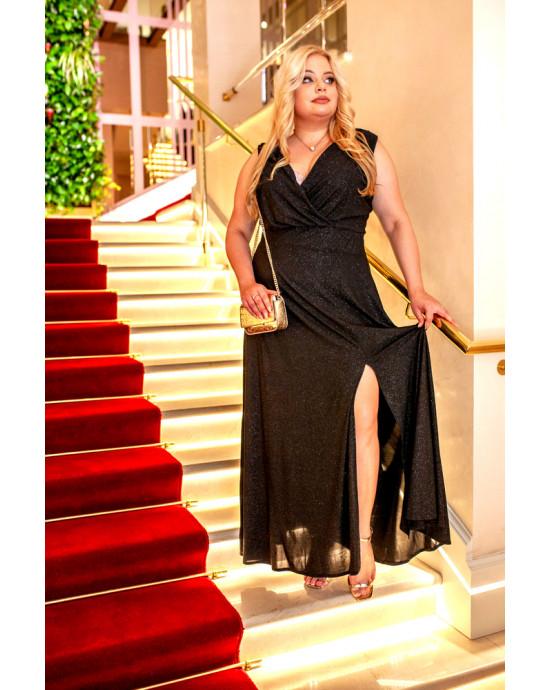 Q-02 elegancka czarna suknia maxi Plus Size