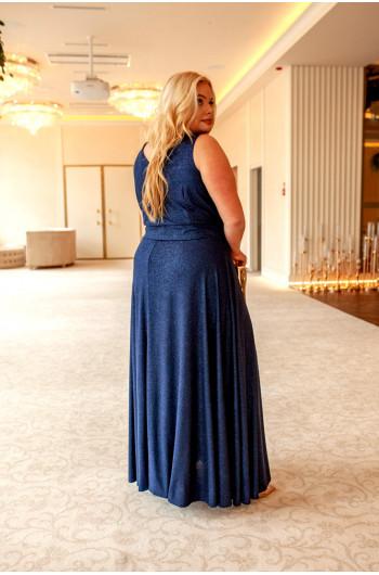 Granatowa najpiękniejsza suknia Plus Size Q-02 wspaniała