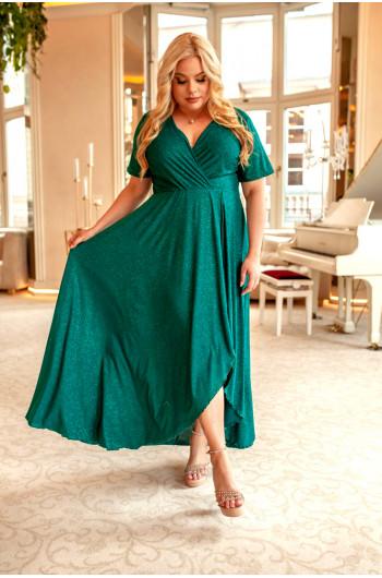Cudowna suknia w kolorze butelkowej zieleni Q-01