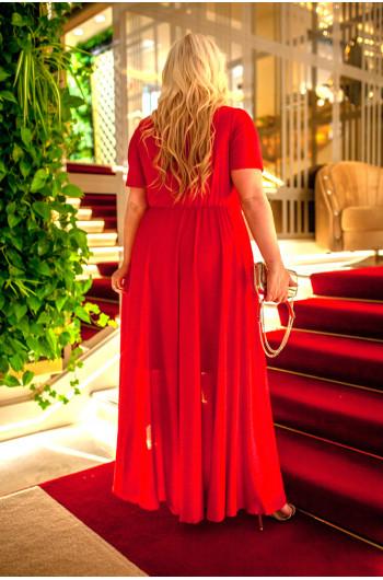 Czerwona genialna sukienka Plus Size Q-01 unikatowa