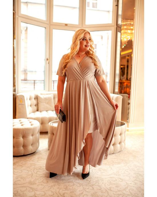 Q-01 Idealna suknia w kolorze beżowo złotym