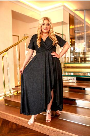 Olśniewająca, nietuzinkowa sukienka Plus Size wieczorowa Q-01 czarna