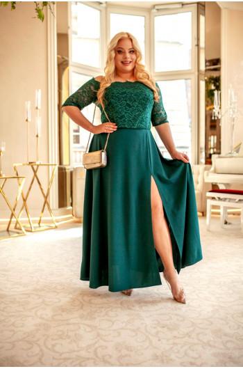 Zachwycająca suknia Q-07 w kolorze butelkowej zieleni