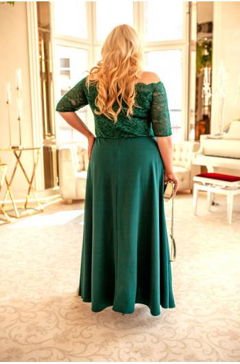 Zachwycająca suknia Q-07 w kolorze butelkowej zileni