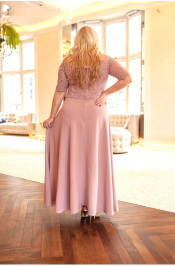 Rozkoszna suknia Q-07 koronkowa róż