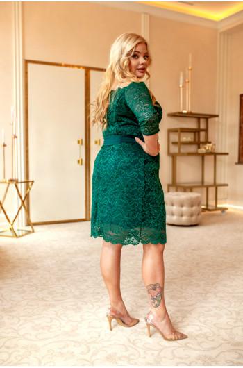 Modna sukienka w kolorze butelkowej zieleni Q-08