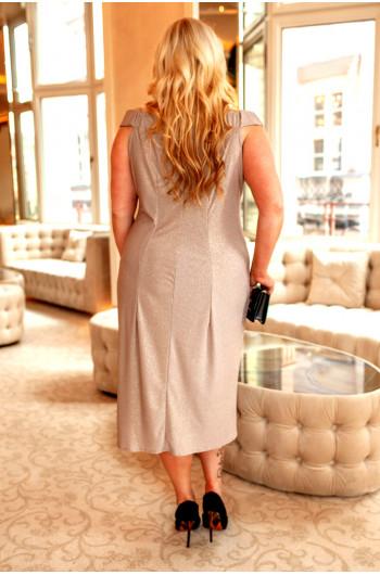Unikatowa beżowo złota suknia plus size Q-03 na wesele