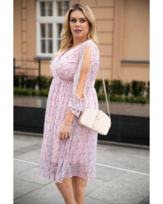 Midi delikatna sukienka Plus Size z siatki S-46 cudowna