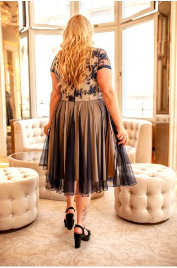 Granatowa klasyczna sukienka Plus Size na wesele Q-12