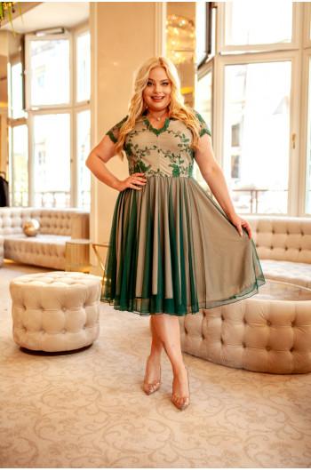 Butelkowa zieleń fenomenalna sukienka plus size  na wesele Q-12