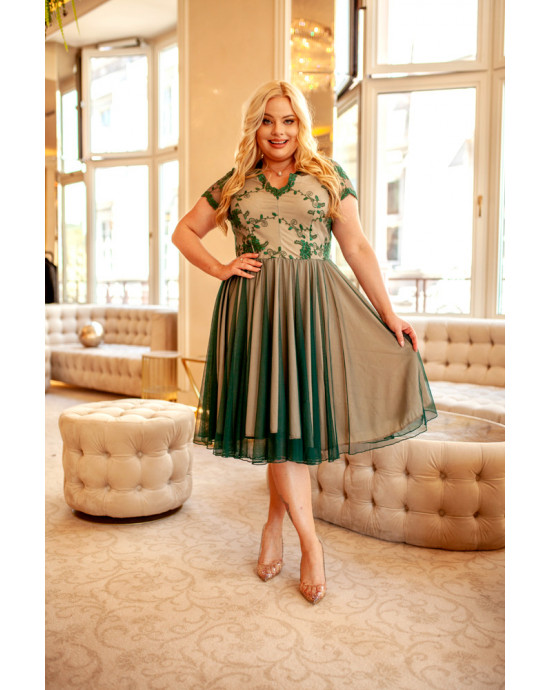Butelkowa zieleń fenomenalna suknia  na wesele Q-12