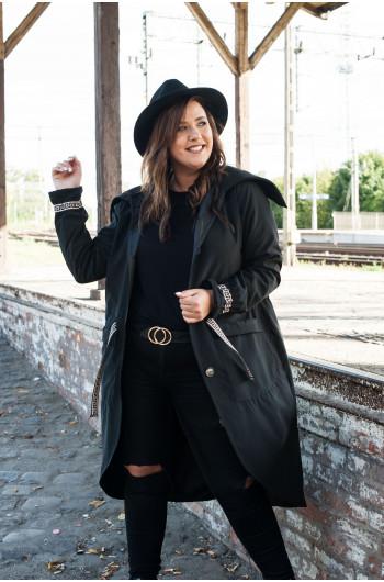 SALE! Wiązany czarny płaszcz Plus Size Pv-2