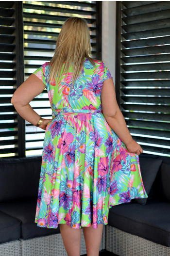 Zmysłowa sukienka Plus Size z koła V-44 neonowa