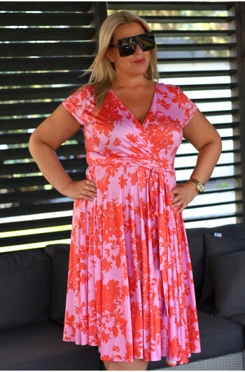 Szałowa sukienka Plus Size V-44 z koła efektowne kolory