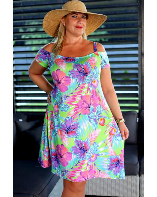 SALE! V-22 letnia sukienka Plus Size trapezowa, printy