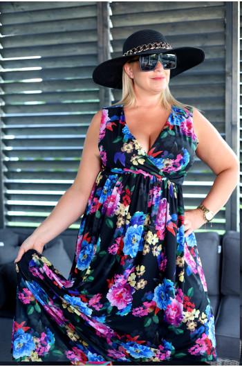 Vs-45 Sukienka Plus Size z siatki z dekoltem kopertowym