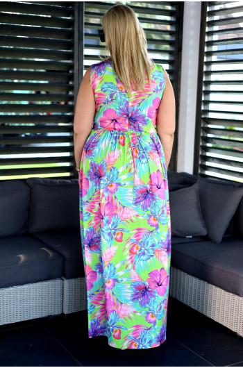 SALE! Długa przeurocza suknia Plus Size w neonowe kwiaty V-45