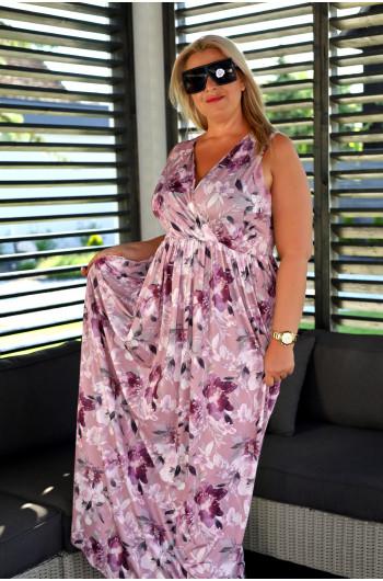 SALE! Klasyczna wyjątkowa suknia Plus Size maxi w kolorze pudrowego różu V-45