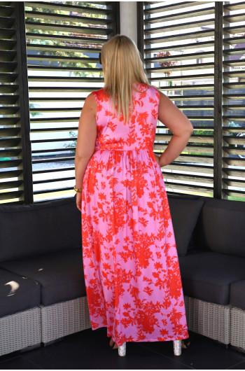 Wystrzałowa maxi suknia Plus Size V-45 z przekładanym dekoltem