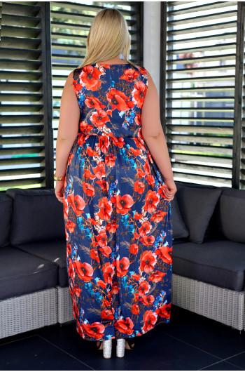 SALE! Maxi suknia Plus Size V-45 efektowny print w maki