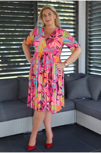 SALE! Vs-46 midi suknia Plus Size w neonowe printy z siatki