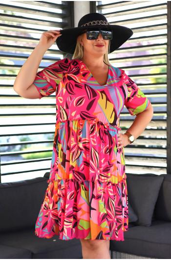 SALE! Trapezowa suknia Plus Size midi Vs-41 neonowa wyjątkowa