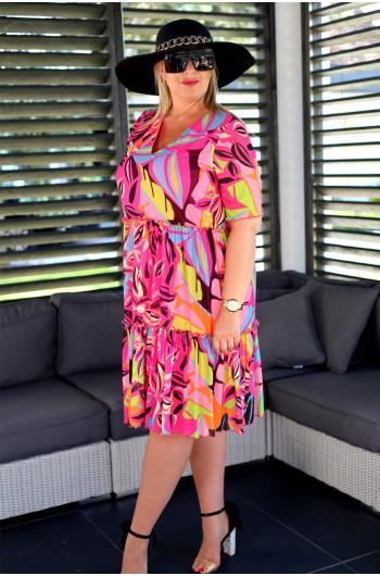 Trapezowa suknia Plus Size midi Vs-41 neonowa wyjątkowa