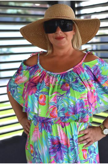 SALE! Wyjątkowa sukienka maxi hiszpanka V-49 printy