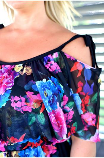 SALE! Suknia Plus Size maxi siatka VS-49 w kwiaty
