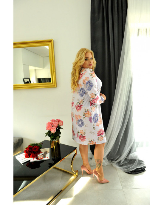 SALE! Sukienko-koszula SX-60 fioletowa w kwiaty