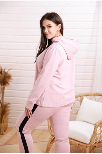 SALE! Dp-03 Spodnie dresowe z czarnym lampasem w kolorze różowym