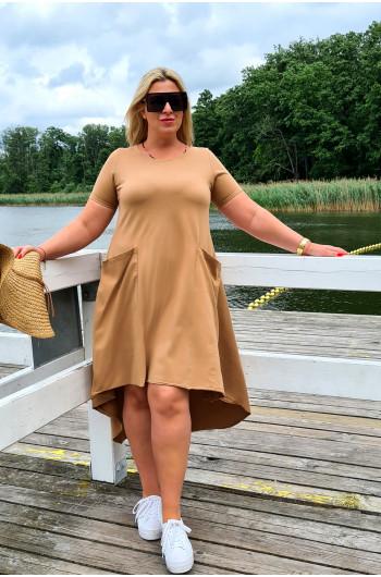 Camelowa suknia trapezowa Y-11 dla puszystych