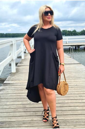 Czarna asymetryczna sukienka na każdą okazję Y-11