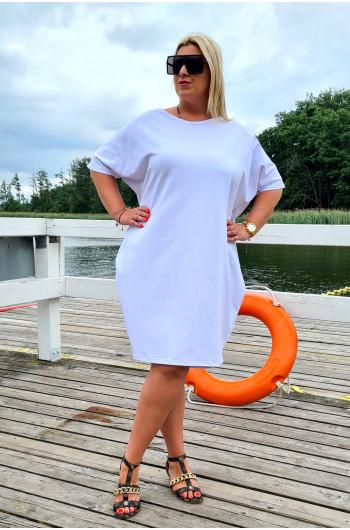 Biała urocza sukienka Plus...