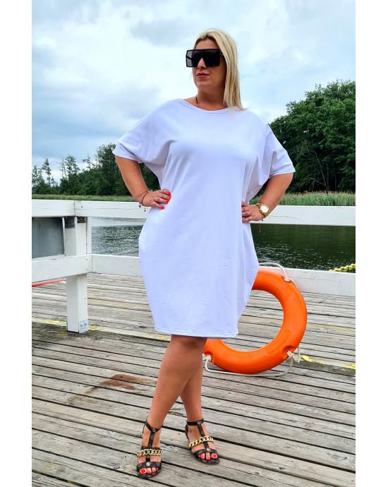 Biała urocza sukienka Plus Size typu tuba Y-12