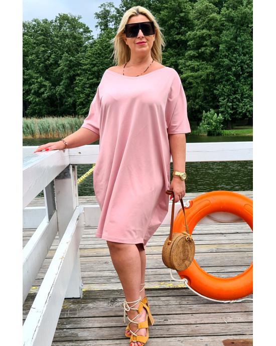 Y-12 suknia Plus Size typu tuba w kolorze brudnego różu