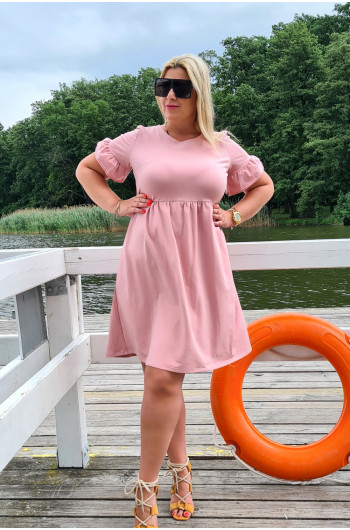 Urocza sukienka Plus Size Y-13 brudny róż