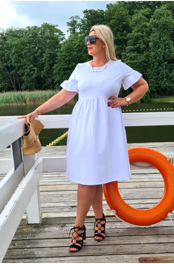 Cudowna dresowa sukienka Plus Size Y-13 biała