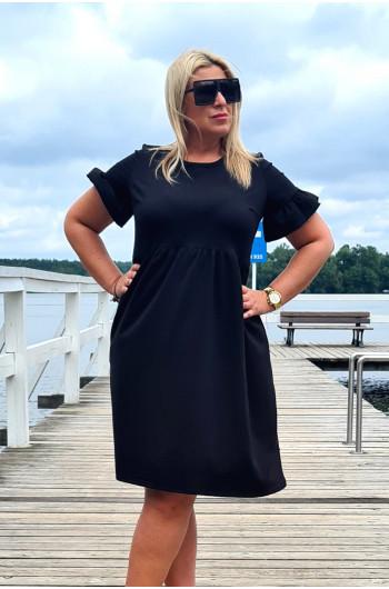 Czarna wyjątkowa sukienka Plus Size Y-13 dresowa
