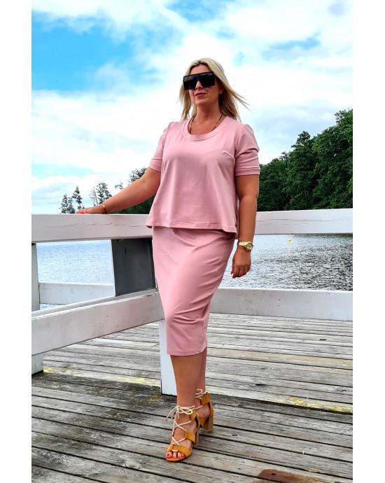 Kobieca spódnica Plus Size ołówkowa w kolorze brudnego różu Y-15