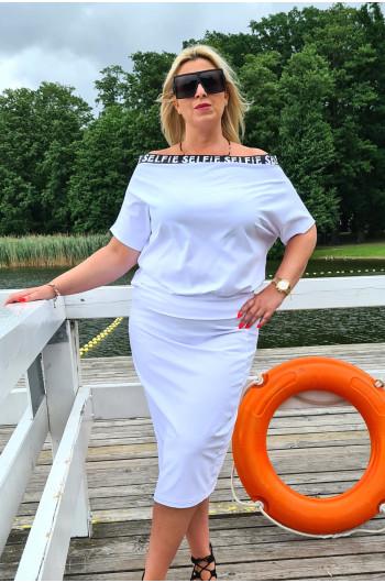 Wyjątkowa spódnica Plus Size w kolorze białym Y-15