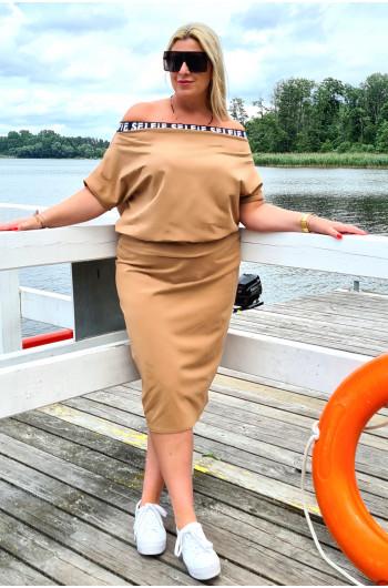 Klasyczna spódnica Plus Size w kolorze camelowym Y-15