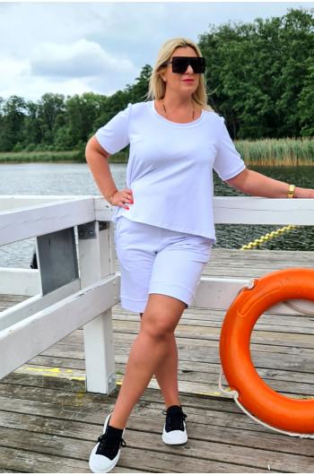 Białe spodenki dresowe Plus Size idealne i wygodne Y-16