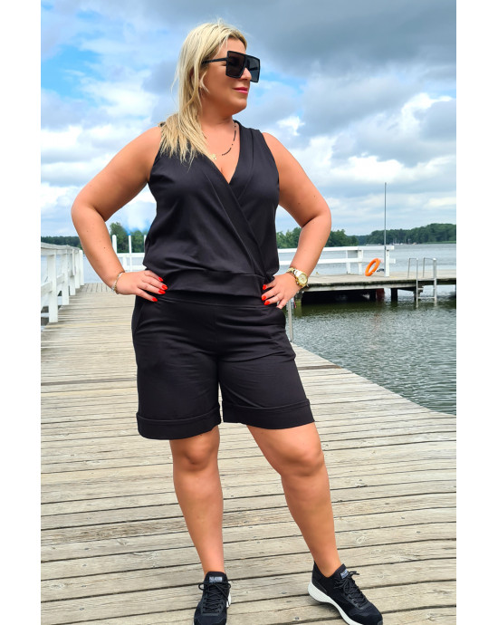 Czarne klasyczne spodenki dresowe Plus Size Y-16