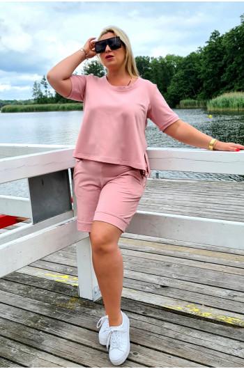 Szałowe krótkie spodnie Plus Size w kolorze brudnego różu Y-16