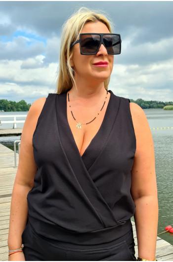 Klasyczna bluzka Plus Size z kopertowym dekoltem Y-17 czarna