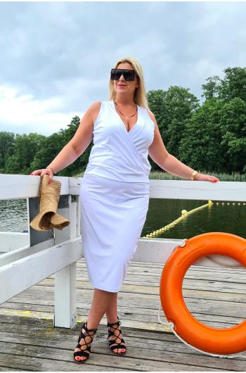Przekładany dekolt bardzo kobieca bluzka y-17 Plus Size w kolorze białym