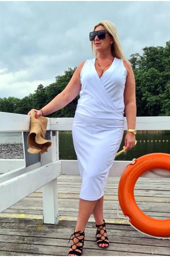 Przekładany dekolt bardzo kobieca bluzka y-17 Plus Size w kolorze...