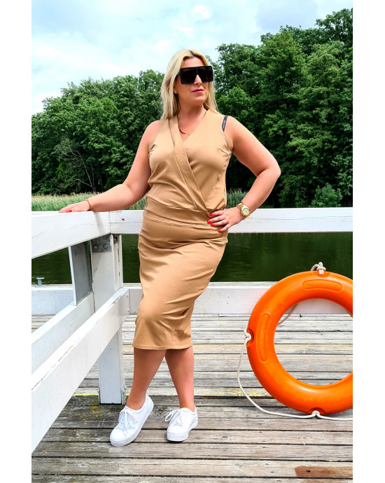 Kobieca i elegancka bluzka Plus Size dresowa Y-17 camelowa