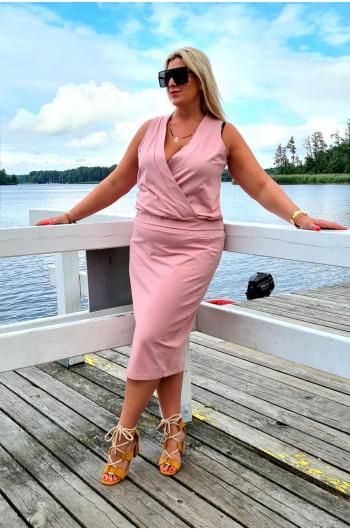 Dresowa bluzka Plus Size kopertowa w kolorze brudnego różu Y-17